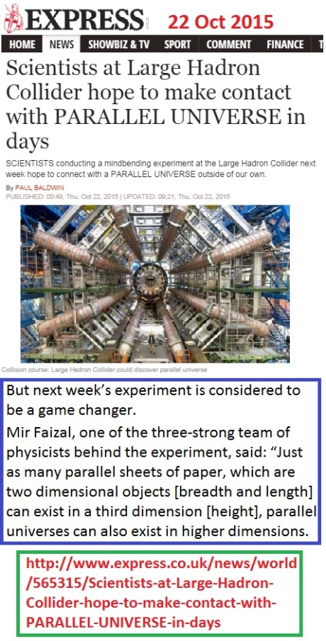 http://www.express.co.uk/news/world/565315/Scientists-at-Large-Hadron-Collider-hope-to-make-contact-with-PARALLEL-UNIVERSE-in-days